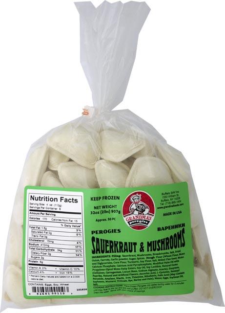 Grandmas Sauerkraut & Mushrooms Pierogi