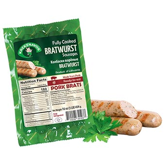 Krekenavos Bratwurst Pork Frankfurters 454g