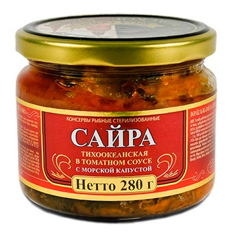 Riga Gold Saury in Tomato Sause with Seaweed Glass Jar 280g