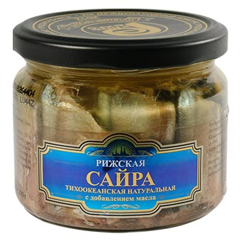 Riga Gold Saury in Own Juice with Oil Glass Jar 280g