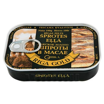 Riga Gold Smoked Sprats in Oil Easy Opener 100g